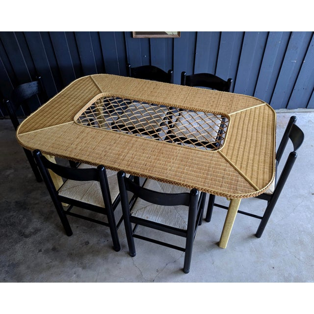 1970s Henry Link Rattan Wicker Chippendale Dining Table For Sale - Image 5 of 12