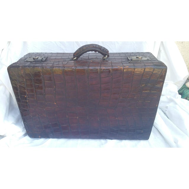 Boho Chic 19th Century Alligator Suitcase For Sale - Image 3 of 7