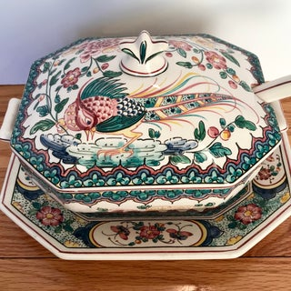 Hand Painted Ceramic Lidded Tureen With Pheasant Design and Under Plate & Ladle Preview