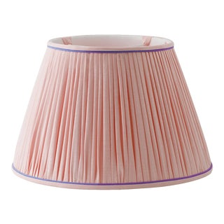 """Light Pink Shirred Empire Lampshade with Royal Purple Welt - 8"""""""