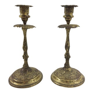Louis XVI Style Brass Stamped Candlesticks - A Pair For Sale