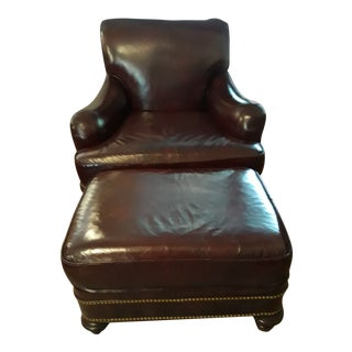 1990s Vintage Hancock and Moore Oxblood Leather Club Chair and Ottoman For Sale