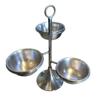 Zodax Silver Tiered Condiment Bowls For Sale