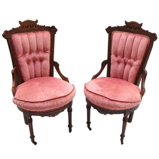 Antique Victorian Eastlake Velvet Chairs - A Pair