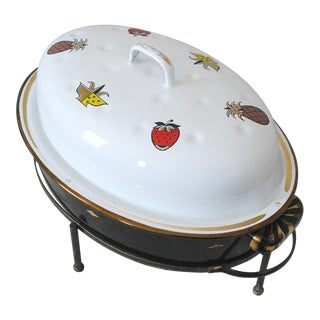 Mid-Century Georges Briard Enamel Roaster With Warming Stand For Sale