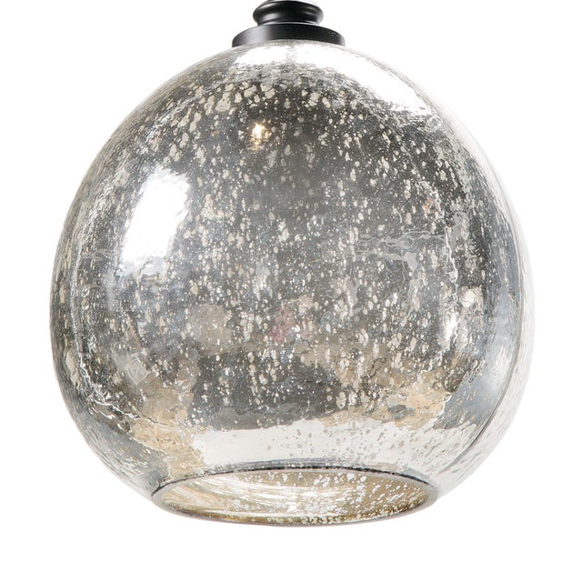 Traditional Glass Float Pendant in Antique Mercury For Sale - Image 3 of 6