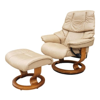 "Vintage Ekornes ""Stressless"" Leather Reclining Chair & Ottoman For Sale"