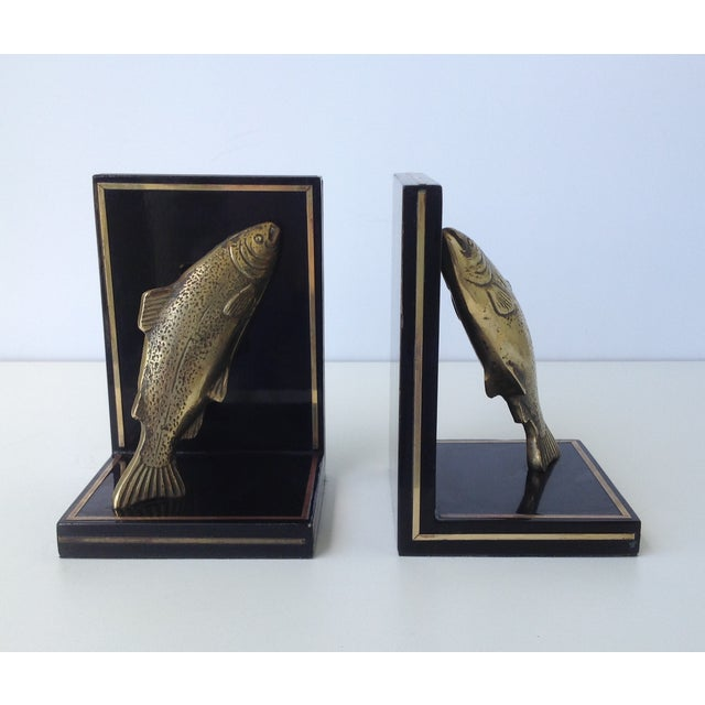 Gold Brass Trout Fish & Wood Bookends - A Pair For Sale - Image 8 of 11
