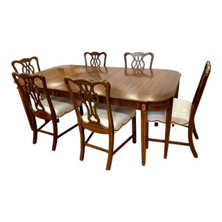 1950s Chippendale Mahogany Dining Set - 7 Pieces For Sale