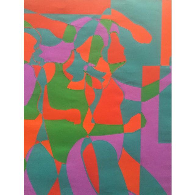 """Roy Ahlgren """"Three Graces"""" 1968 Silkscreen on Paper 25"""" x 19"""", Unframed Op- art silkscreen on Ingris paper, signed lower..."""
