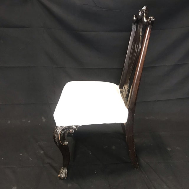 Wood Carved 19th Century English Chippendale Style Dining Chairs -Set of 4 For Sale - Image 7 of 9