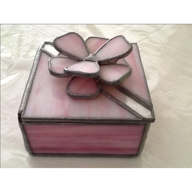 Glass Vintage Pink Stained Glass Jewel Box For Sale - Image 7 of 7