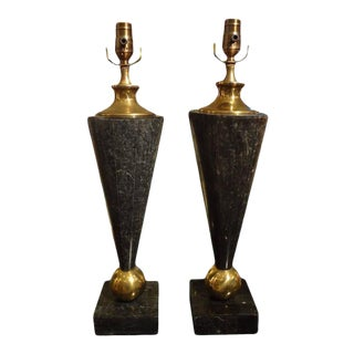 1960's Mid-Century Modern Karl Springer Inspired Tessellated Stone and Brass Lamps-A Pair For Sale