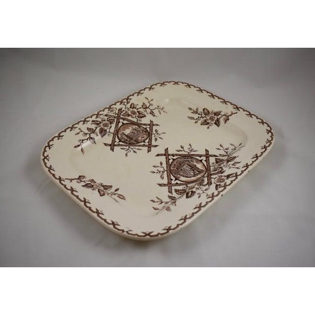 Cream 19th C. English Aesthetic Movement Japonesque Transferware Serving Platter For Sale - Image 8 of 10
