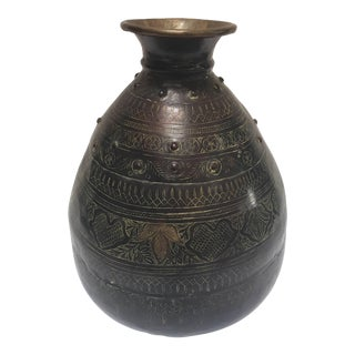 Large Indian Hand-Hammered Copper Jug With Asian Carvings For Sale