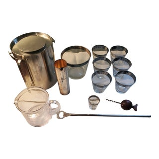 1960s Mid-Century Silver Rimmed Barware Set - 14 Piece Set For Sale