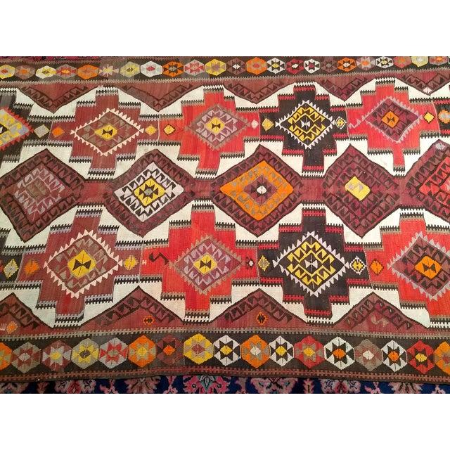 1940s Vintage Kurdish Kilim Rug - 5′ × 14′2″ For Sale - Image 4 of 12