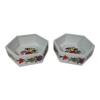 1960s Hand Painted French Octagon Nut Bowls - a Pair For Sale