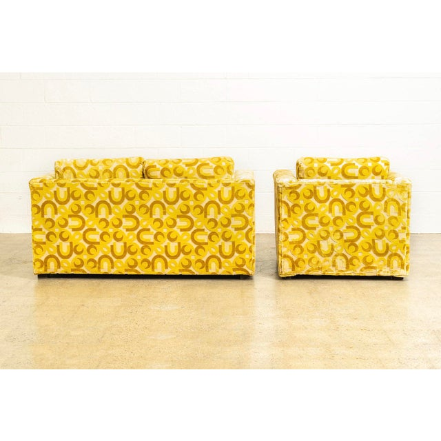Mid Century 1970s Yellow Loveseat and Lounge Chair For Sale In Detroit - Image 6 of 12