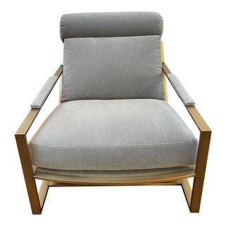 "Mid-Century Modern Milo Baughman for Thayer Coggin Grey Velvet With Brushed Bronze Frame ""Cruisin' "" Lounge Chair For Sale"