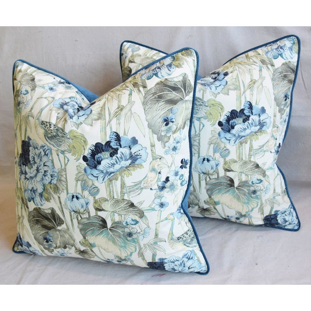 "Blue Chinoiserie Crane & Floral Feather/Down Pillows 24"" Square - Pair For Sale - Image 8 of 13"