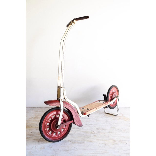 Rustic Vintage Antique Metal & Wood Child's Scooter For Sale - Image 3 of 6