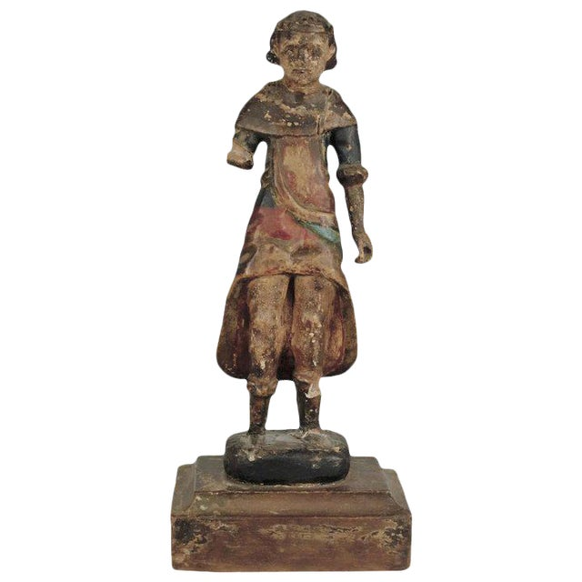 19th Century Carved Wood Youth For Sale