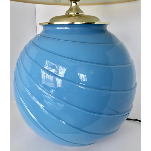 Art Deco Sky Blue Glass Table Lamp - Image 4 of 9