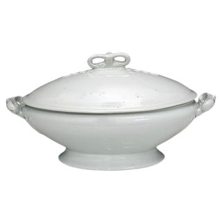 Antique English Ironstone Tureen W/ Crown Handle For Sale