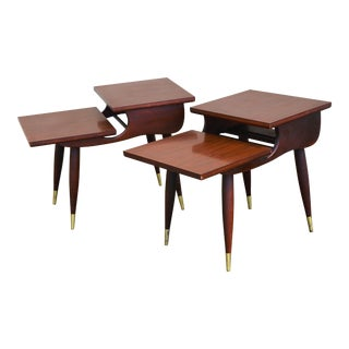 1950s Vintage Mid-Century Modern Step End Tables - a Pair