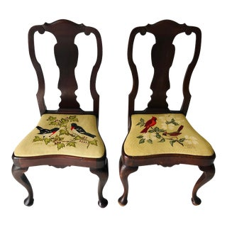 Antique a Pair of Queen Anne Chairs Needlepoint Seats For Sale
