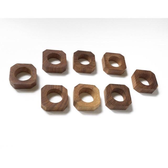 1970s Vintage Solid Teak Wood Napkin Rings - Set of 8 For Sale - Image 5 of 6
