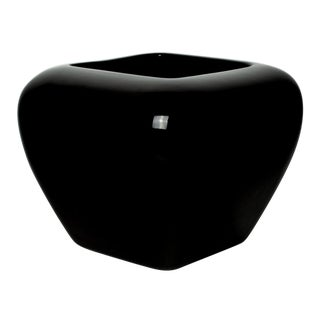 Haeger Black Ceramic Rounded Square Vase Planter For Sale