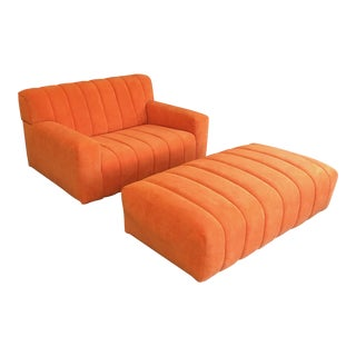 Oversized Channel Sofa and Ottoman