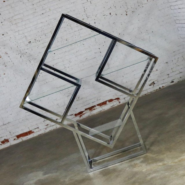Mid-Century Modern Modernist Geometric Diamond Shaped Chrome Étagère Attributed to Milo Baughman For Sale - Image 3 of 11
