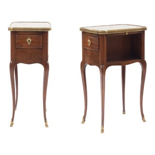French Louis XV Marble End Tables For Sale