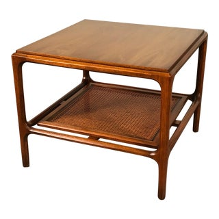 Mid-Century Modern End Table With Cane Botton Shelf / Nightstand For Sale