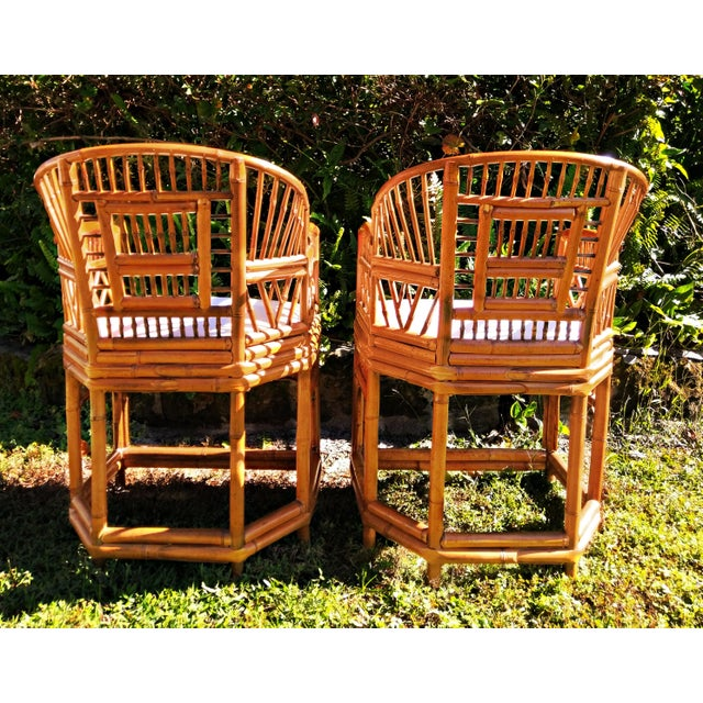 Asian Vintage Mid Century Brighton Tiger Bamboo Chairs- A Pair For Sale - Image 3 of 13
