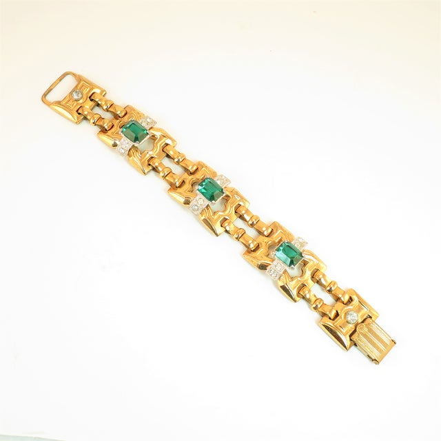 Art Deco McClelland Barclay Geometric EmErald Bracelet 1930s For Sale - Image 11 of 11