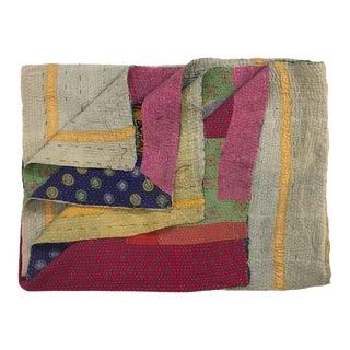 Strips of Color Vintage Kantha Quilt For Sale
