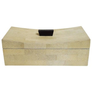 Beige Curved Shagreen Box by Fabio Ltd For Sale