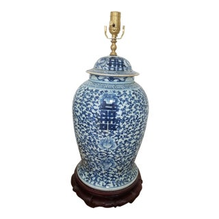 Antique Chinese Blue and White Hand Painted Porcelain Temple Jar Mounted Table Lamp For Sale