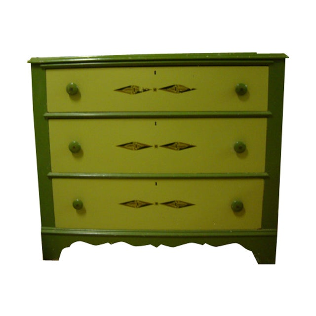 Vintage Green Cottage Dresser - Image 1 of 5