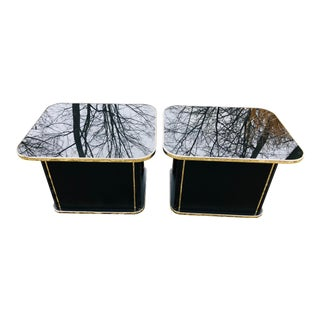 Vintage Glam Deco Side Tables Black Glass Brass Trim, Pair For Sale