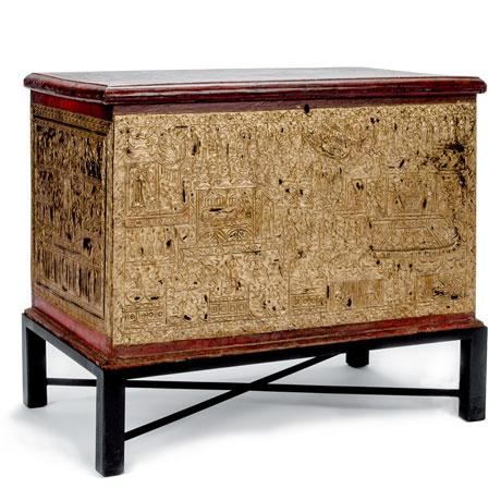Asian Antique 19th Century Teak Red Lacquer and Gold Leaf Manuscript Chest For Sale - Image 3 of 6