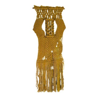 Gold Boho Chic Macrame Wall Hanging For Sale