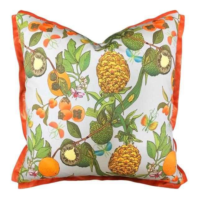 Pineapple Morning Mist Metallic Orange Flange Pillow For Sale