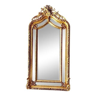 French Louis XVI Style Gold Leaf Floor Mirror For Sale