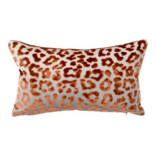 Contemporary FirmaMenta Burnt Orange Leopard Velvet Lumbar Pillow For Sale