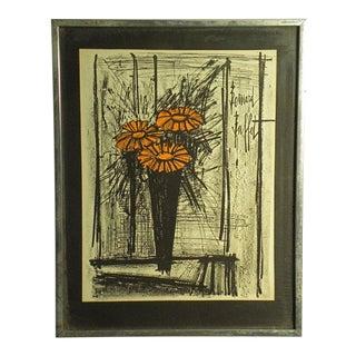 1960s Vintage Bernard Buffett Flowers Lithograph Print For Sale
